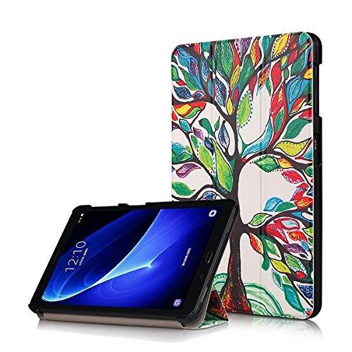 XITODA Custodia Galaxy Tab A6 10.1 - PU Pelle Smart Case mit Stand & con Il Sonno/Sveglia la Funzione Cover per Samsung Galaxy Tab A 10,1 2016 SM-T585/T580 Tablet Custodia Protezione,Albero Felice