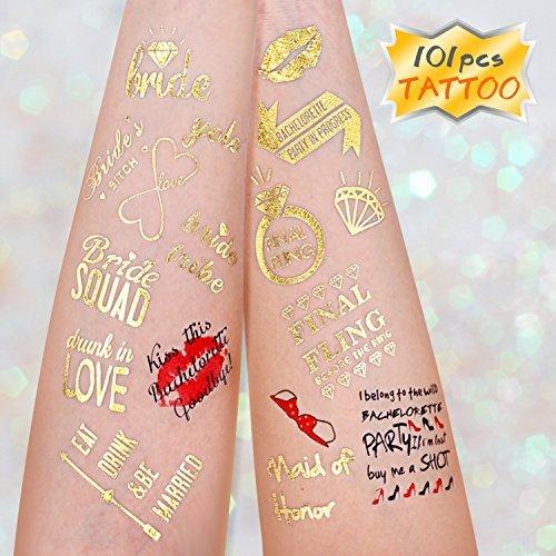 Tatouages temporaires, Konsait Hen Party tatouages de mariage Stickers pour les mariées, Enterrement De Vie De Jeune Fille Decorations (4 feuilles) (Type 1)