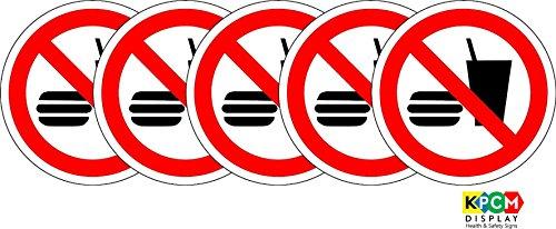 ISO-Sicherheitsschild–internationales Essen und Trinken- Verboten -Symbol, Aufkleber, selbstklebend, 200mm Durchmesser, 5Stück (Mm Essen)