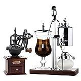 En Acier Inoxydable Manuel Café Maker Set Vintage Style Balance Siphon En Verre Cafetière Avec Main Meulage Burr Bean Mill Maker Avec Stand Assorti,Silver