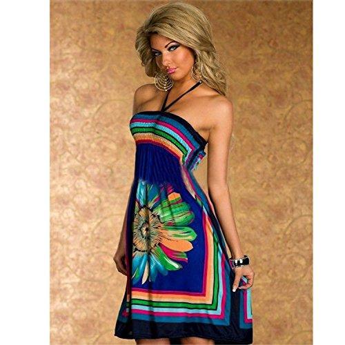 Damen Sommerkleid Bohemian Print Kleid Schlinge Cocktailkleider Strandkleid Schulterfrei Trägerlos Beachwear Blau