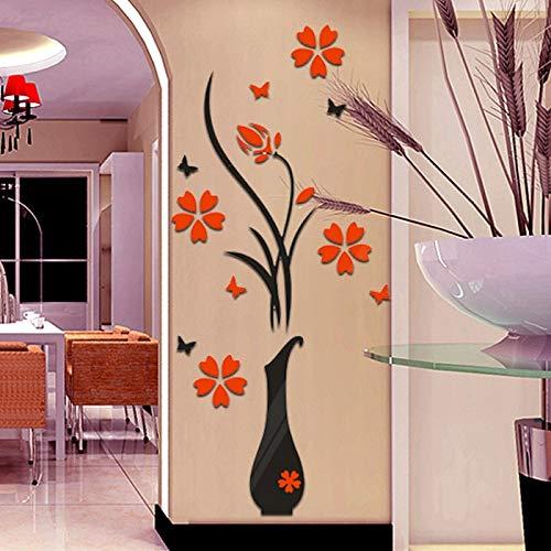 QTTZWZQ Pflanze Vase Blume Baum Wandaufkleber Aufkleber Wohnkultur Tapeten Wohnzimmer Küche Schlafzimmer Dekorationen (Dschungel-tier-vasen)