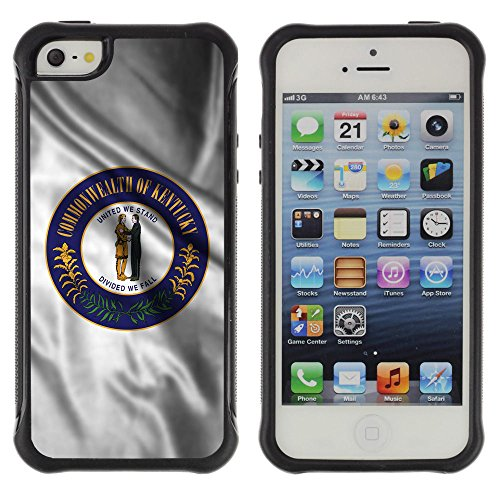 FJCases Kentucky The Bluegrass State Wehende Siegel Flagge Stoßfest Anti-Rutsch Weiches Gummi Hülle Case Schutzhülle Taschen für Apple iPhone SE / 5 / 5S