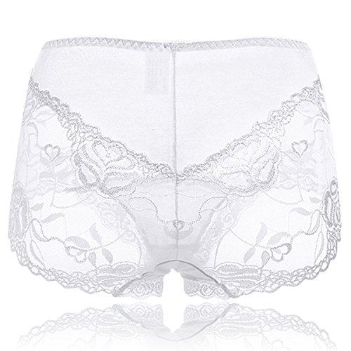 KissLace Damen Spitze Panty Mittlere Taile Große Größen Unsichtbare Dehnbare Bequeme Unterhose Hipsters Weiß