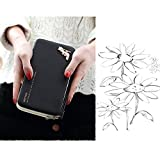 Women Phone Wallet, Bonice 2017 Ladies Long Style Handbag Purse Multi-function Zippe Leather Multi Card Organizer Wallet Womens Multi-card Position Cellphone Case for iPhone 7/7 Plus/6S/6S Plus/6/6 Plus/Galaxy S6/S6 Edge/S4 S5 S3 S7/Note 5 - Black