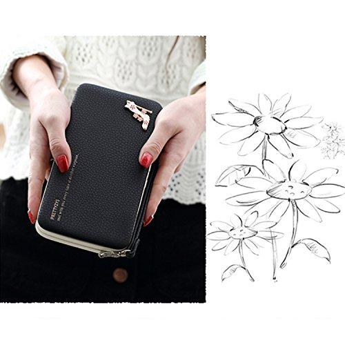 Portafogli da Donna Borsa con Diamante Bowknot Modello, Bonice Multifunzionale [Grande Capacità] Smartphone Wristlet Custodia Case Cover per LG K10 2017 (5.3), LG K8 2017 (5.0), LG K4 2017 (5.0), L Elegant-Cover-03