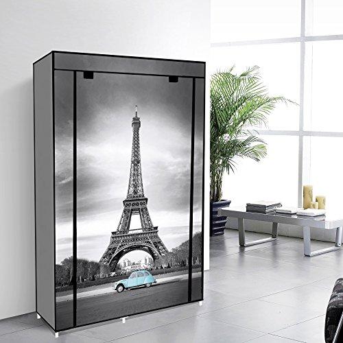 Tragbare Non Woven Canvas Stoff Kleiderschrank Lagerung 5 Regale - Eiffelturm 105 x 45 x 158 cm