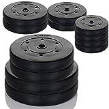 20 kg Gewichte Set a 2 x 10 kg Hantelscheiben 30-31 mm Bohrung Hart-Kunststoff