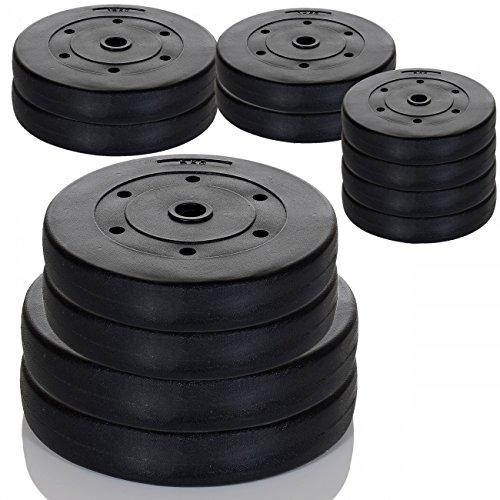 20 kg Hantelscheiben Set | 2 x 10 kg Gewichte | 31/32 mm Bohrung | Kunststoff Hülle