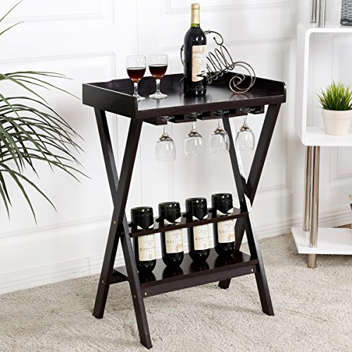 COSTWAY Weinregal mit Weinglashalter Gläserregal Flaschenregal Weinständer Holzregal Weinschrank Flaschenständer Standregal aus Holz Kolonialstil