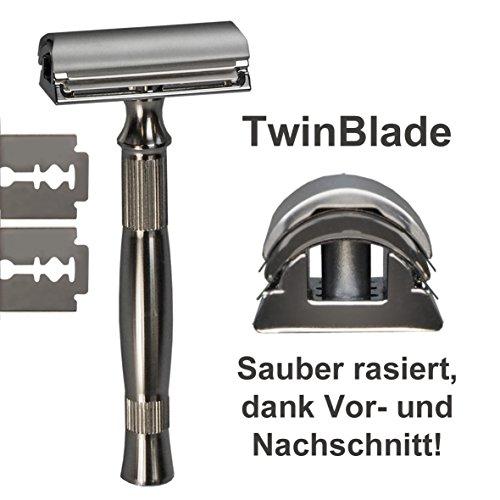 NEU: GIP - TwinBlade, Rasierhobel/Nassrasierer mit Edelstahl-Griff - der Systemrasierer für herkömmliche (günstige) Rasierklingen
