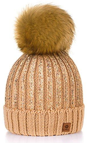 Para Mujer Invierno Más Cálido Sombrero Gorra with Large Pom Pom de la Bola  Gorra tejida 8f84eff7a9c