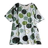 iYmitz Sommer Damen Mode Drucken T-Shirt Punkt Lose Rundausschnitt Kurzarm Bluse Tanktops Oberteil Tops Shirts Tanktops(Grün,EU-40/CN-L)