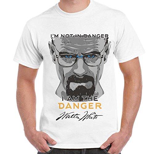 CHEMAGLIETTE! - T-Shirt Maglietta Stampa Breaking Bad Heisenberg I'M The Danger Cotone Uomo, Colore: Bianco, Taglia: L