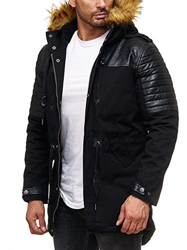 Herren WINTERJACKE Mantel PARKA Patched Ripples KUNSTFELL mit gesteppten Kunstleder lang gefüttert Redbridge RBC by Cipo & Baxx (XL, Schwarz) (Mantel Winter Herren Jacke)