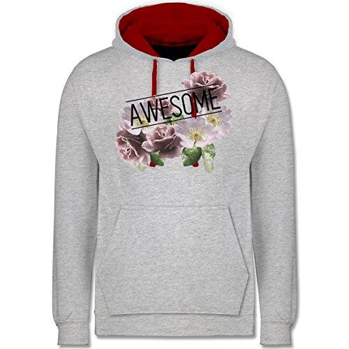 Statement Shirts - Awesome Blumen - Kontrast Hoodie Grau Meliert/Rot