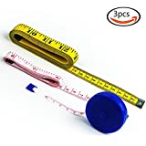 Goodlucky365 (3PC) One 120-Inch Soft Tape Measure And Two 60-Inch Soft Tape Measure(One Retractable Tape Measure And One Portable tape measure) for Sewing Tailor Cloth Ruler
