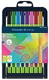 Schneider Line-Up Fineliner (superfeine Dreikant-Stifte mit 0,4 mm Strichstärke, Made in Germany) 8er Stiftebox sortiert