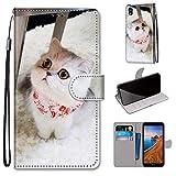 Miagon Flip PU Leder Schutzhülle für Xiaomi Redmi 7A,Bunt Muster Hülle Brieftasche Case Cover Ständer mit Kartenfächer Trageschlaufe,Schal Katze