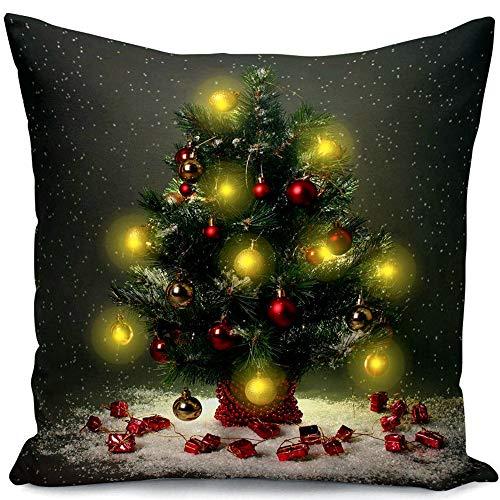 GZQ Funda de Cojín para Navidad,Funda de Cojín con luz LED, 45 * 45 cm Funda para Adorno del Casa...