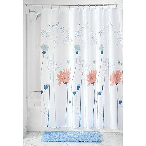Salbei Dusche (iDesign 64120EU Floral Meadow Duschvorhang, 183 x 0,254 x 183 cm, blau/ Korallen/ salbei, stoff)