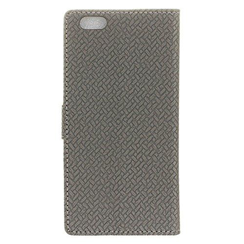 iPhone Case Cover Pour iPhone 6 Plus & 6s Plus Tissage Textile Horizontal Flip PU Housse en Cuir avec Boucle Magnétique & Holder & Card Slots & Portefeuille & Cadre Photo ( Color : Blue ) Grey