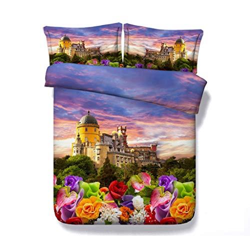 Floral Lavendel Bettbezug 3er Galaxy Bedding Set 2 passende Kissen Shams Landschaft Tagesdecke Sunset Tagesdecke Flower Garden Tröster Cover lila rot grün weiß - Grün Und Tröster Lila