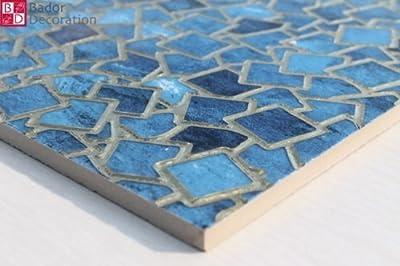 1 Matte Wandfliesen Fliesen Keramik Glänzend Glasiert Blau Türkis Gold 30x30 8mm von Bador bei TapetenShop