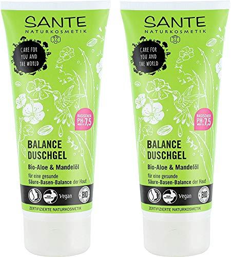 SANTE Naturkosmetik Balance Duschgel, Für gesunde Säure-Basen-Balance der Haut, Vegan, Mit Bio-Aloe & Mandelöl, 2x200ml Doppelpack