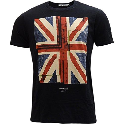 ben-sherman-camiseta-camisetas-basico-manga-corta-para-hombre-negro-negro-large
