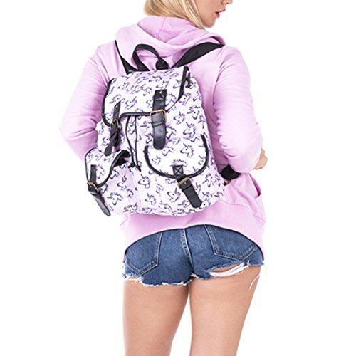 Milya Nuovo Design Ragazza Studentessa Zaino A Tracolla Classe Zaino Con Doppia Tasca Piccola Stampa Modello Cavallo Multicolore