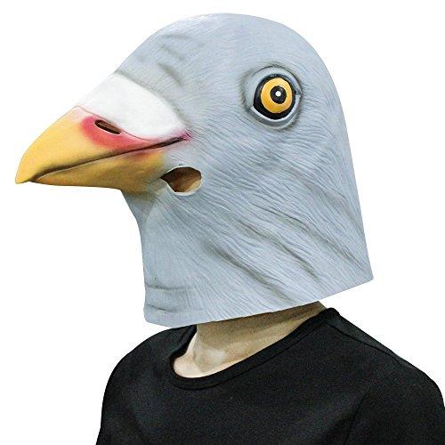 Taube Kostüm Maske (Taube Maske, Cusfull Latex Taubeknopf maske Taube Headmaske Kopfmaske Tiermaske Erwachsenen Kostüm Zubehör für Halloween Fasching Karneval Party)