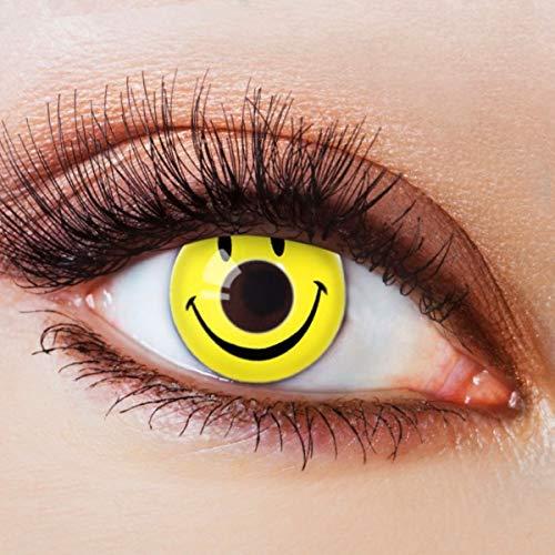 Farbige Kontaktlinsen Gelb Motivlinsen Ohne Stärke mit Motiv Gelbe Linsen Halloween Karneval Fasching Cosplay Kostüm Yellow Smiley
