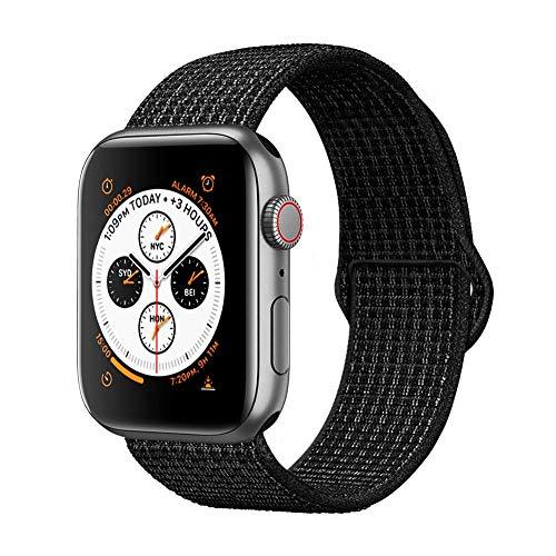 Tervoka Compatible pour Apple Watch Bracelet 44mm 42mm, Sport Nylon Tissé Bracelet de Remplacement pour iWatch Séries 4/3/2/1, Sports, Édition, Black/White