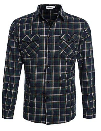 HOTOUCH Herren Hemd Kariert Langarmhemd Slim Fit Bügelfrei Freizeit aus Baumwolle mit Kentkragen Typ1-Aqua