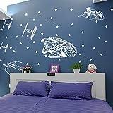 sticker mural Star Wars vaisseau spatial autocollant mural chambre de garçon chambre Star Wars Starfighters Star Sticker chambre enfant vie