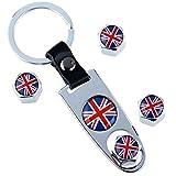 Schlüsselanhänger + 4x Kappen Ventilkappen Ventil Autos englische Flagge