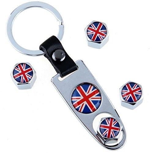 Llavero + 4 x Tapones cubre válvulas de coches - Estampado con la bandera inglesa