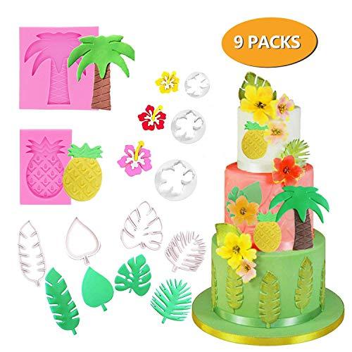 CODOHI 9 stücke Tropische Blätter Fondant Ausstechformen Form Ananas Palm Hibiskus Süßigkeiten Werkzeug für Luau Party -