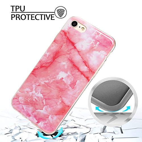 Coque iPhone 7 , Coque iPhone 8 TPU Etui Silicone Souple Flexible Ultra Mince Protection Case Cover Mode Dessin Marbre Motif E-Lush Enveloppe Coque Pour Apple iPhone 7 / iPhone 8 ( 4.7 pouces) Housse  Rose foncé