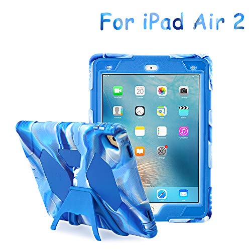 kidspr Ganzkörper-Rugged Schutzhülle mit Kickstand und integriertem stoßfest Drop Proof super Protection Standfunktion Cover Schutzhülle für iPad Air 2 iPad Air 2 marineblau ()