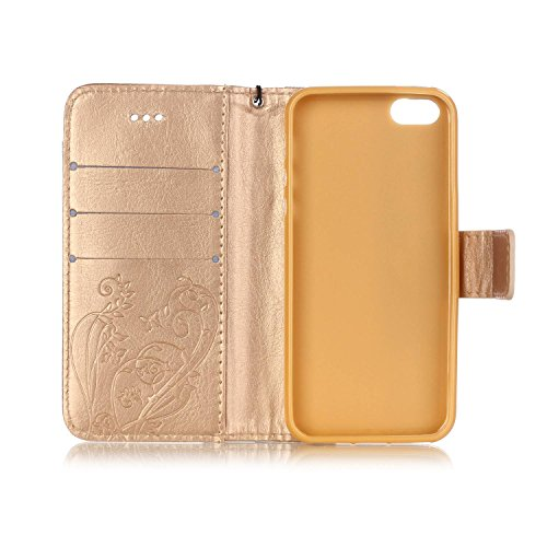JIALUN-étui pour téléphone Avec Slot à carte, Lanyard, Pressure Beautiful Pattern Fashion Open Cell Phone Shell pour IPhone 5 5S SE ( Color : Pink , Size : IPhone 5S SE ) Gold