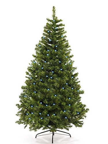 awshop24 Künstlicher Weihnachtsbaum mit LED Christbaum Tannenbaum künstlich Kunstbaum Lichterbaum Tanne (Natur-GRÜN + LED 180 cm)