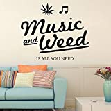 ARWY Wall Stickers Home Decor Music And Weed Wall Sticker, Wall Sticker For Bedroom, Wall Art, Wall Poster (SUN MILD Vinyl, 53 X 45 CM)
