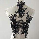 bridallaceuk 3D-Spitzenapplikation, Blumen-Aufnäher, ideal zum Basteln, Nähen, Kostüm, Abenden, Brautoberteil 3 in 1 A5 Schwarz