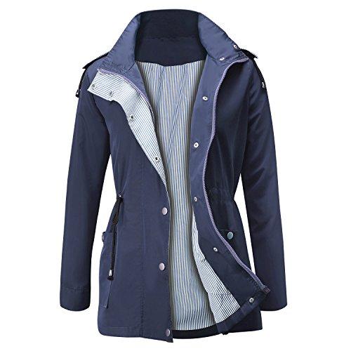 Femme Manteau Imperméable à Capuche Manches Longues Active Outdoor Veste de Pluie