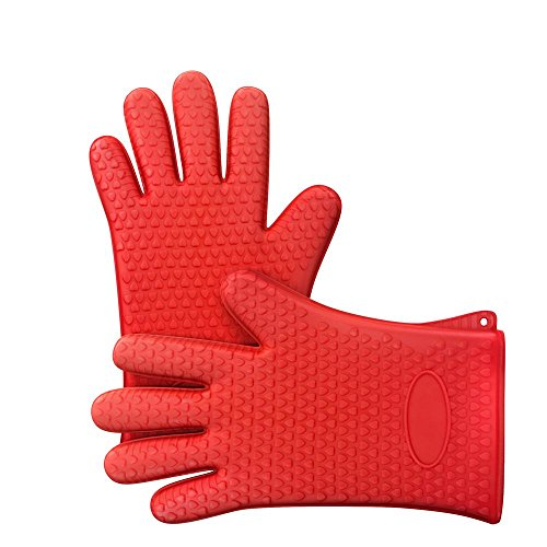 Bagonia Silicone BBQ Cooking Gloves, Heat Resistant Oven Gloves and Mitts for Grilling, Barbecue & Kitchen Baking - Multi Color