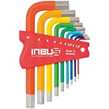 INBUS® 70259 Hex Key Set / colour-coded short set metric 9-pcs. 1.5-10mm | Made in Germany | Hex socket wrench | angle wrenches | 1.5mm | 2mm | 2.5mm | 3mm | 4mm | 5mm | 6mm | 8mm | 10mm | colourful | coloured | design |short design