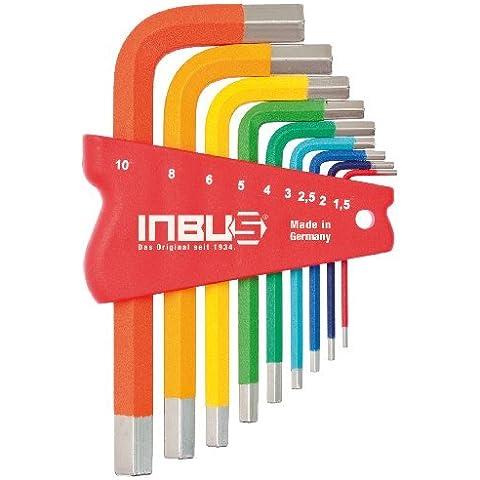 INBUS® 70259 Set de llaves Inbus/ juego en código de colores métrica 9 piezas. 1,5-10mm | Made in Germany | llaves de hexágono interior | llaves Allen acodadas | 1,5mm | 2mm | 2,5mm | 3mm | 5mm | 4mm | 6mm | 8mm | 10mm | multicolor | de colores |diseño |versión corta