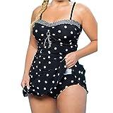 Vestido Traje de Baño de Mujer Tallas Grandes, LILICAT® Vestido Tops de Bikini con Estampado de Lunares + Bikini Tanga Braga, 2 PCS Ropa de Baño Monokini Brasileño de Playa Acolchado Push-Up (Tamaño Asiático: XXXXL, Negro)